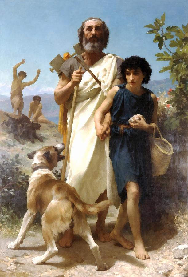 William Bouguereau Digital Art - Homer And His Guide by William Bouguereau