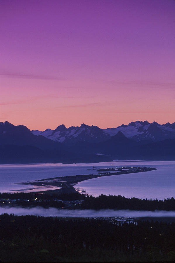 Schultz Photograph - Homer Spit Sunset Kenai Mtns Kenai by Jeff Schultz