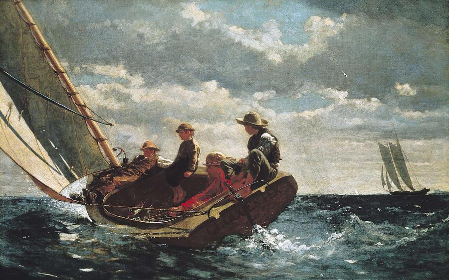 Horizontal Photograph - Homer, Winslow 1830-1910. Breezing Up A by Everett