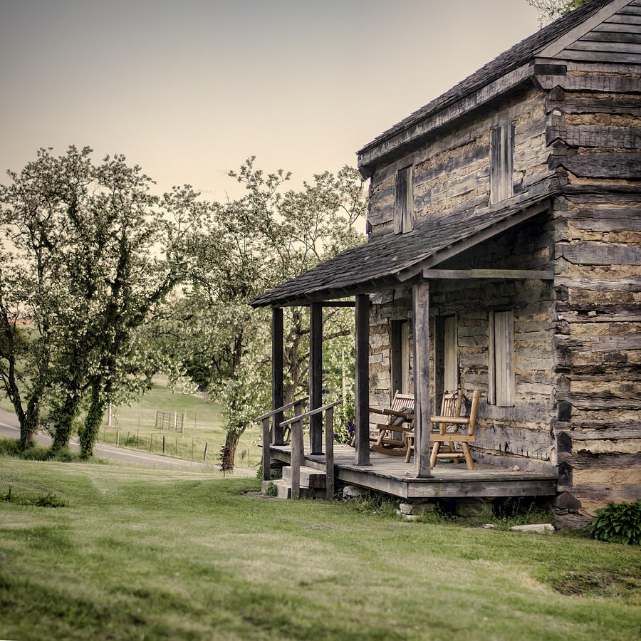 Log Cabin Photograph - Homestead At Dusk by Heather Applegate