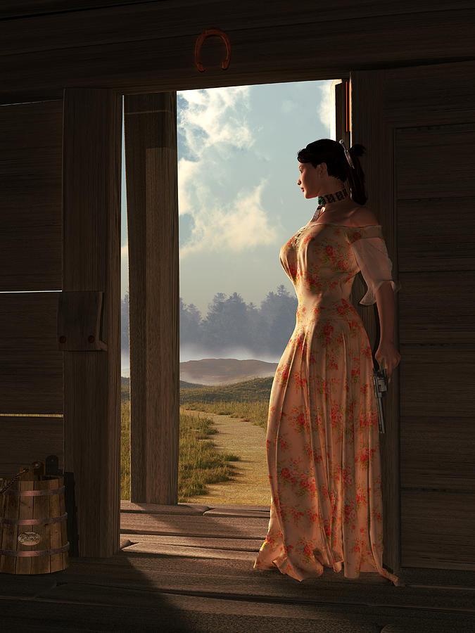 Widows Threshold Digital Art - Homestead Woman by Daniel Eskridge