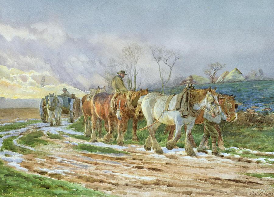 Winter Painting - Homeward Bound by Charles James Adams