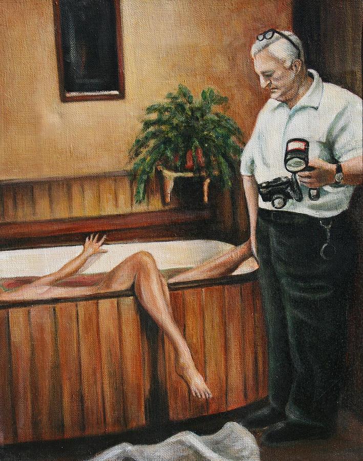 Dead Body Painting - Homicide Photographer  by Melinda Saminski