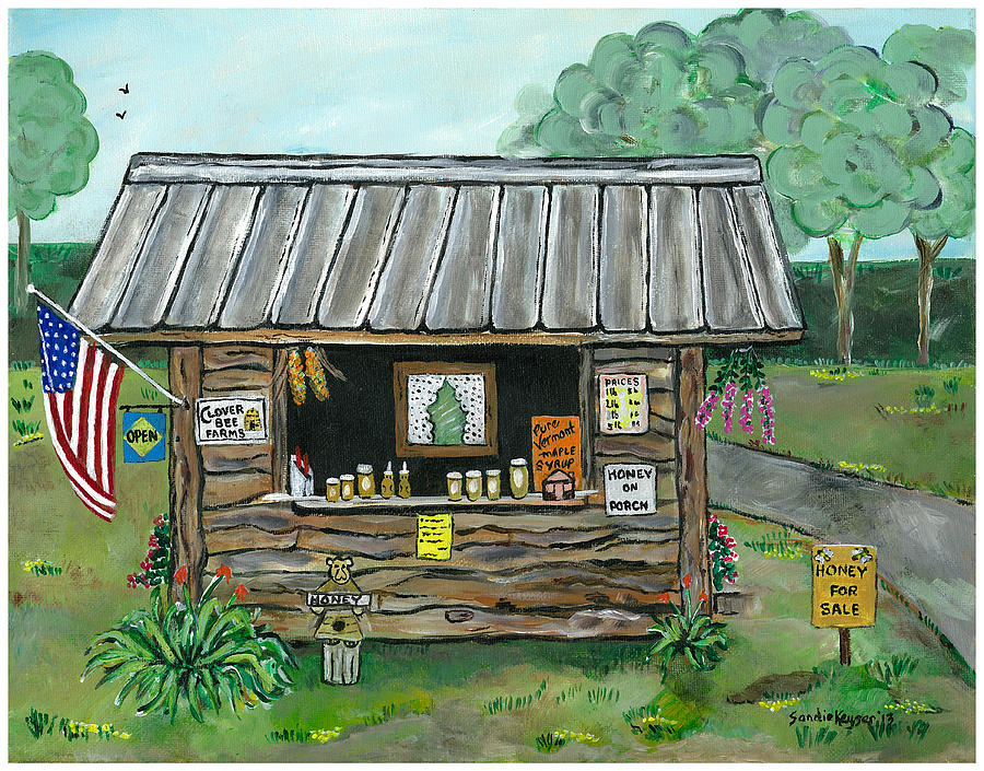 Honor System  Honey Stand Painting - Honey For Sale by Sandie Keyser