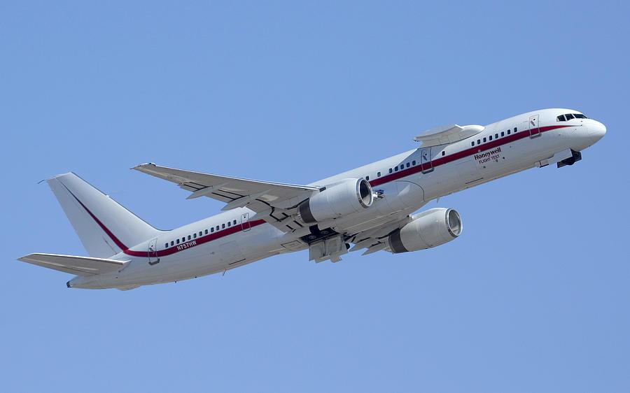 Airplane Photograph - Honeywell Boeing 757 Engine Testbed N757hw Phoenix August 9 2013 by Brian Lockett