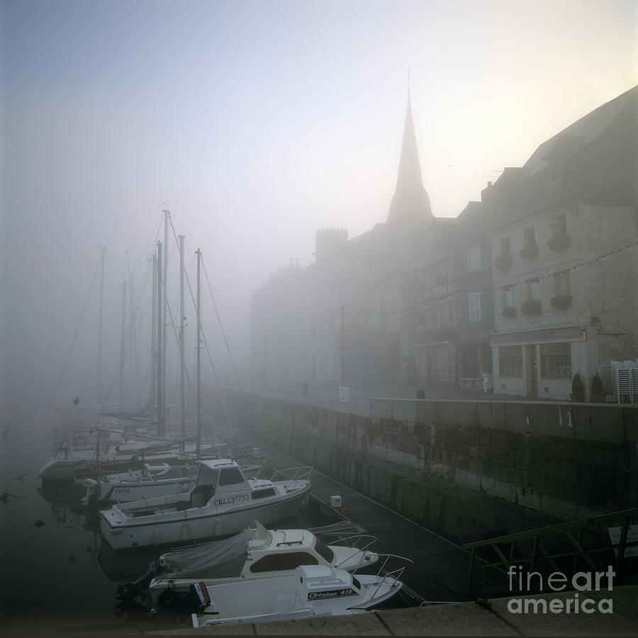 Ambiance Ambient Atmosphere Atmospheric Boat Boats Calvados Day Daylight Daytime During Europe European Exterior Exteriors Filled Fog Foggy France French Full Harbor Harbour Harbour Haze Hazy Honfleur In Mist Mists Misty Mood Mood-filled Moods Nobody Normandy Of Outdoor Photo Photos Port Ports Shot Shots The Photograph - Honfleur Harbour In Fog. Calvados. Normandy. France. Europe by Bernard Jaubert