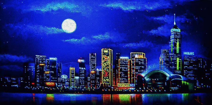 Hong Kong By Black Light Painting By Thomas Kolendra