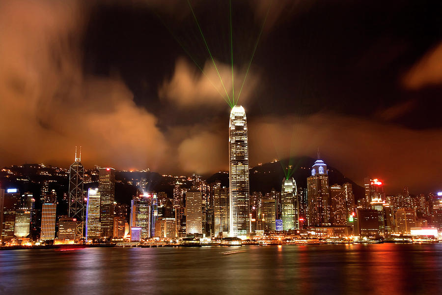 Architecture Photograph - Hong Kong Harbor At Night Lightshow by William Perry
