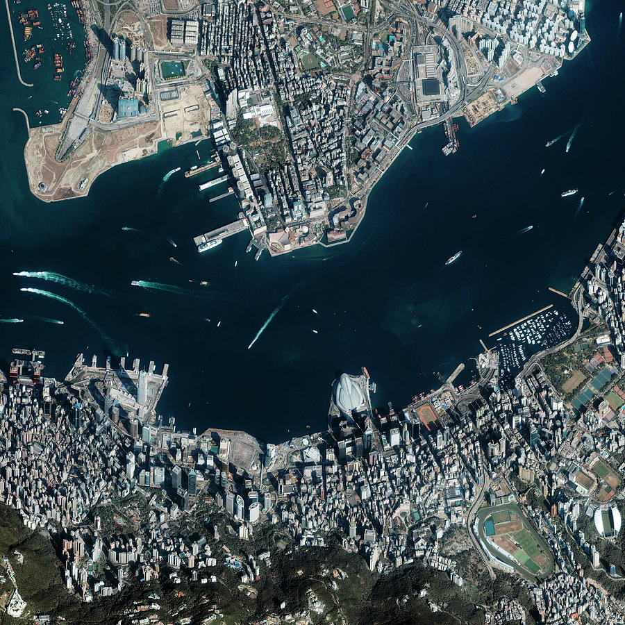 Victoria Harbour Photograph - Hong Kong Harbour by Geoeye/science Photo Library