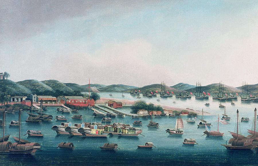 Coast Painting - Hong Kong Harbor by Cantonese School