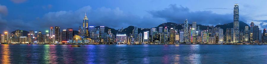 Hong Kong Photograph - Hong Kong Island Central City Skyline At Blue Hour by David Gn