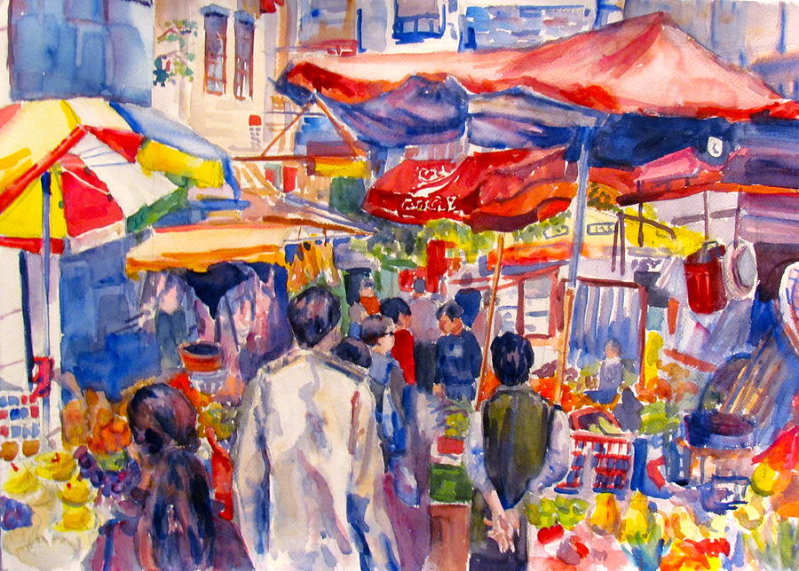 Landscape Painting - Hong Kong Market by Joyce Kanyuk