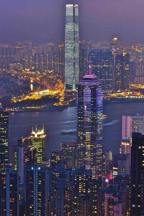 Star Ferry Photograph - Hong Kong Night View At Victoria Peak by Hisao Mogi