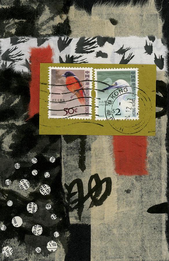 Postcard Photograph - Hong Kong Postage Collage by Carol Leigh