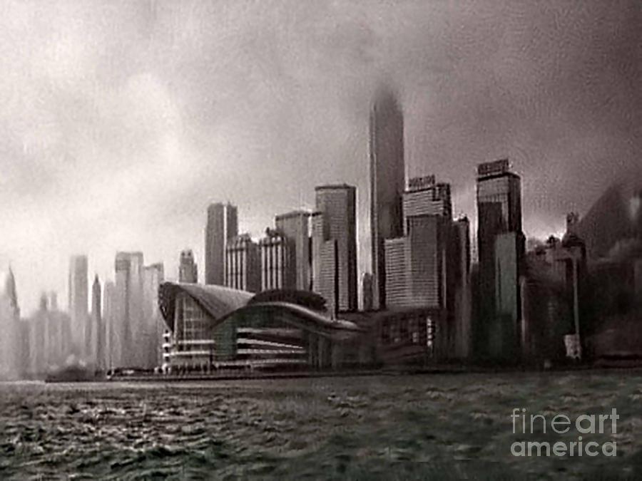 Black And White Photograph - Hong Kong Rain 5 by Tom Prendergast