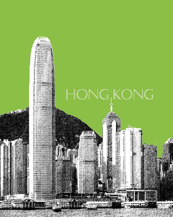 Architecture Digital Art - Hong Kong Skyline 1 - Olive by DB Artist