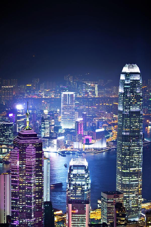 Hong Kong Skyline At Night Photograph by Tomml