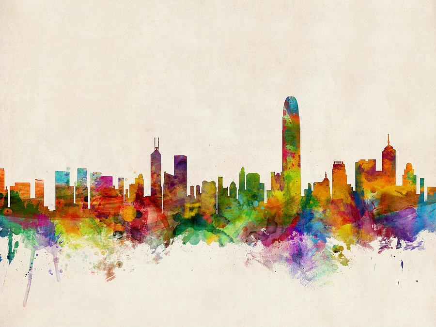 China Digital Art - Hong Kong Skyline by Michael Tompsett