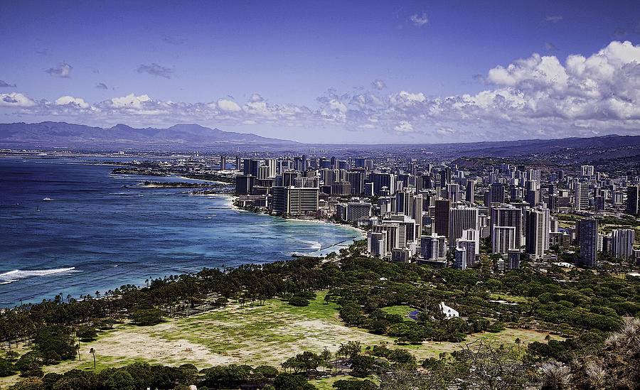 Diamond Head Photograph - Honolulu From Diamond Head by Joanna Madloch