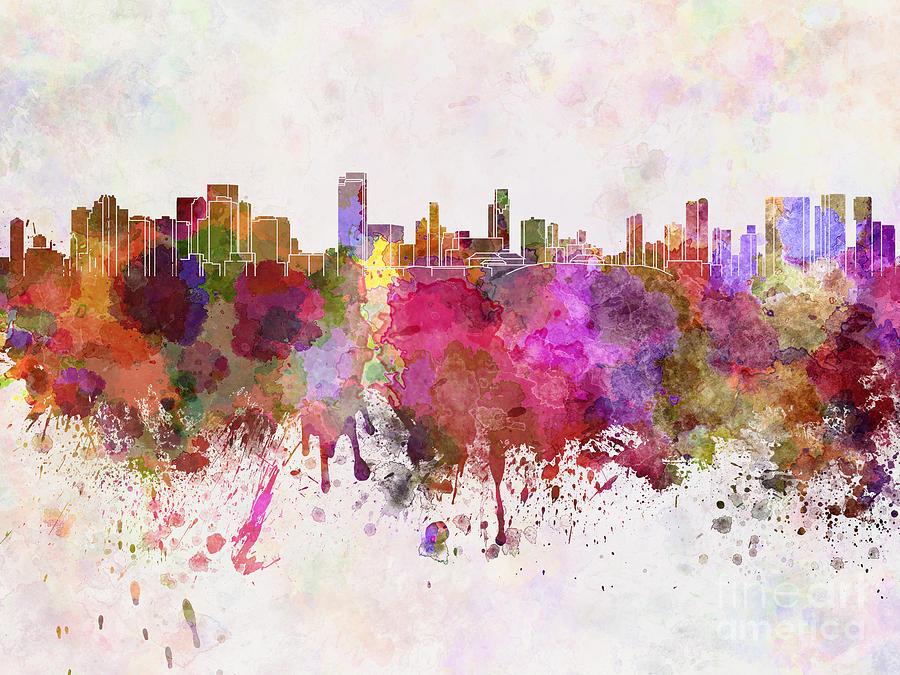 Honolulu Skyline In Watercolor Background Painting