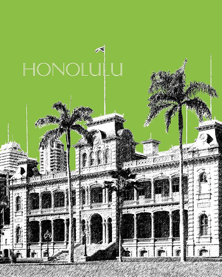 Architecture Digital Art - Honolulu Skyline Iolani Palace - Olive by DB Artist