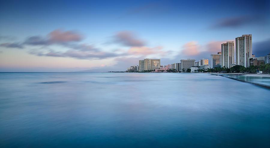 Seawall Photograph - Honolulu Waikiki Early Morning by Tin Lung Chao