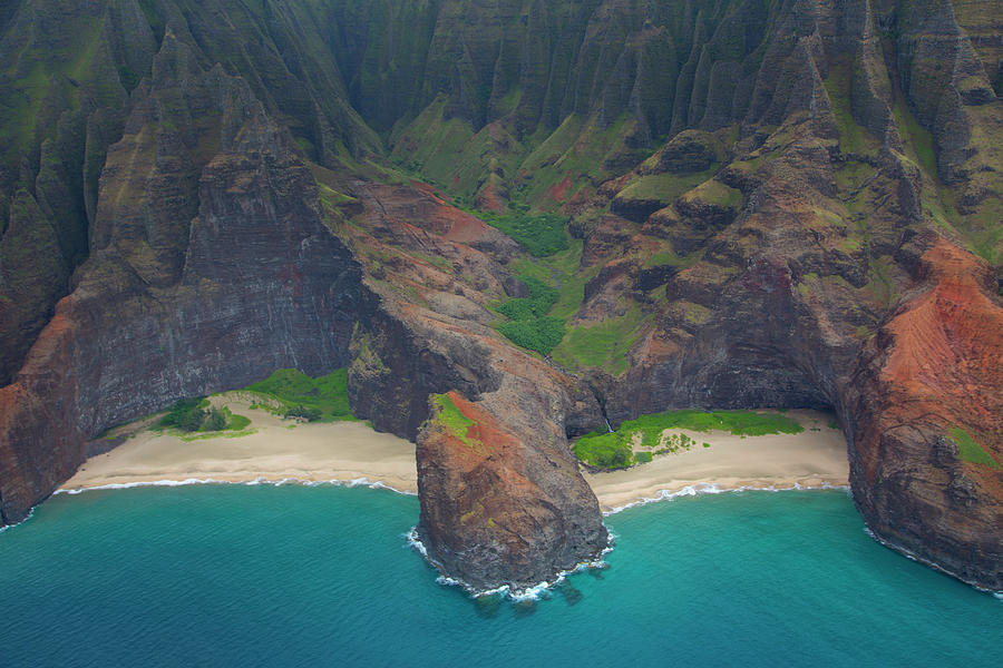 Aerial Photograph - Honopu Beach, Napali Coast, Kauai by Douglas Peebles