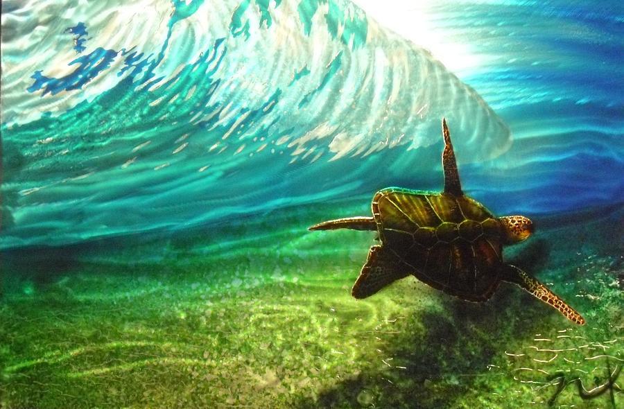 Painting - Honu Surf 2 by Nick Knezic