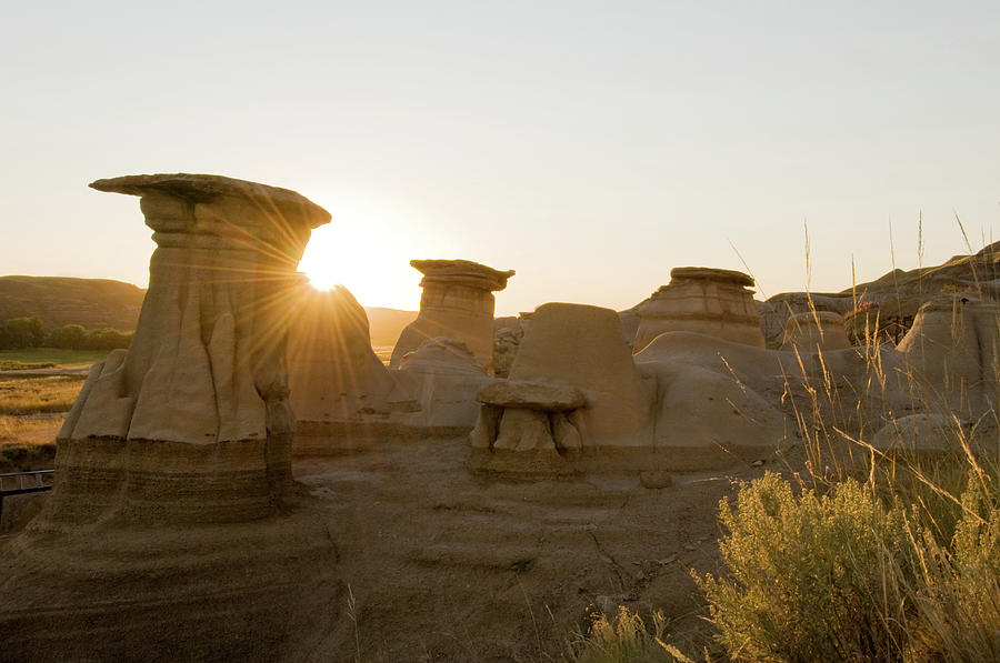 Hoodoos At Sunset, Near Drumheller Photograph by Wildroze