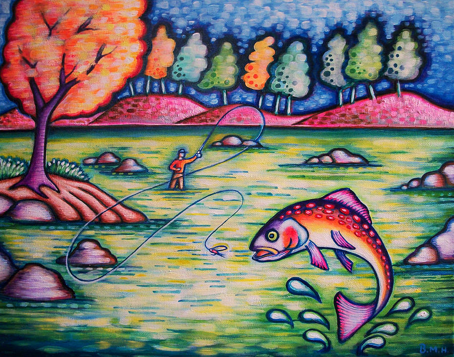 Rainbow Trout Painting - Hooked On You? by Brenda Higginson