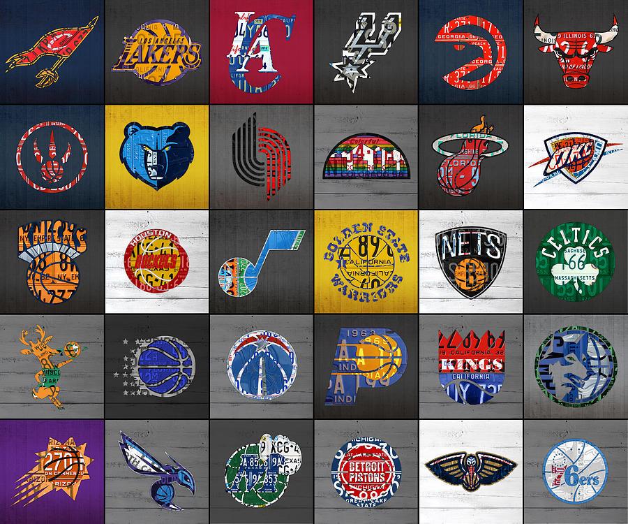 Hoop It Up Recycled Vintage Basketball League Team Logos