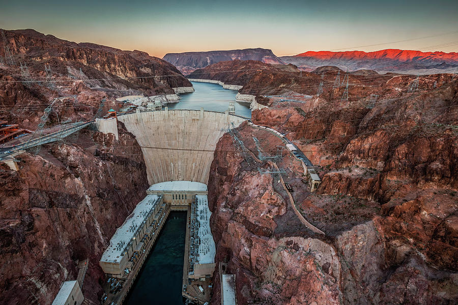Tranquility Photograph - Hoover Dam At Dusk Elevated View by Bob Stefko