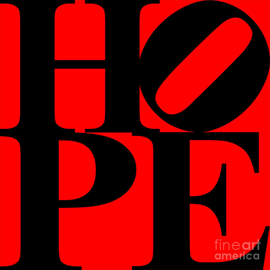 Philosophy Digital Art - Hope 20130710 Black Red by Wingsdomain Art and Photography