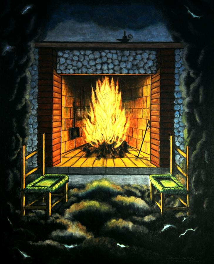 Fireplace Painting - Hope Always On by Donatella Muggianu