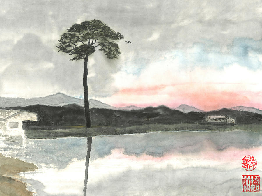 Japanese Painting - Hope For The Lone Pine by Terri Harris