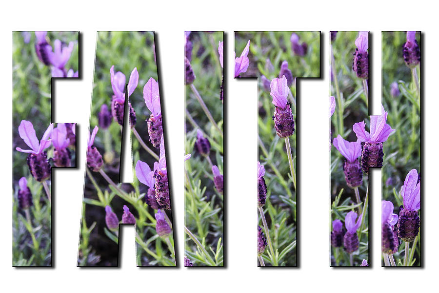 Faith in Spanish Lavender on White from the Faith Hope and Love Series by Karen Stephenson