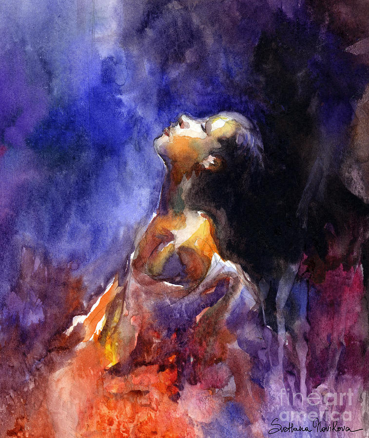 Watercolor Portrait Painting Painting - hope Woman Portrait  by Svetlana Novikova