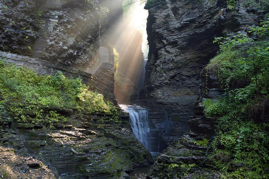Glen Photograph - Hopeful Rays Spotlight Minnehaha Falls by Gene Walls
