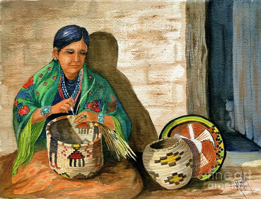 Indian Woman Painting - Hopi Basket Weaver by Marilyn Smith