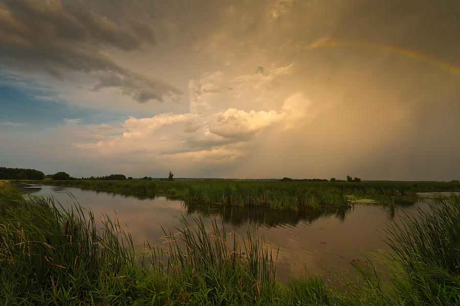 Rainbow Photograph - Horicon Marsh Storm by Steve Gadomski