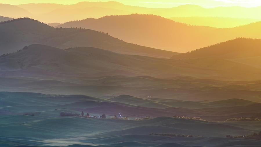 Sunrise Photograph - Horizon Profile Of Palouse by ??? / Austin