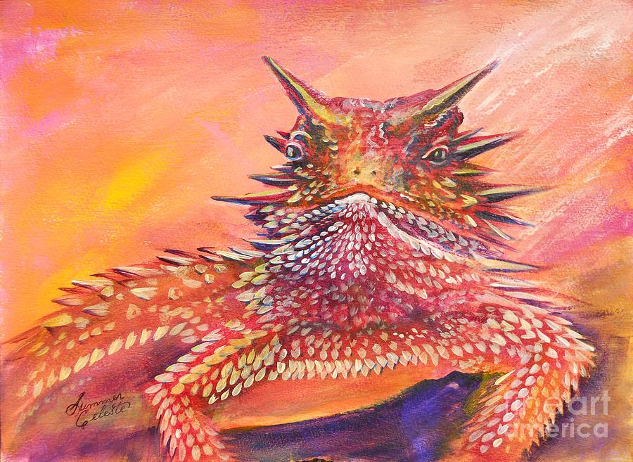 Horned Lizard Painting - Horny Toad by Summer Celeste