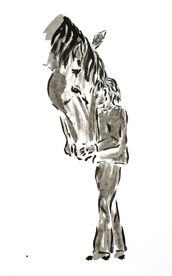 Ink Painting - Horse And A Boy by Olga Surm