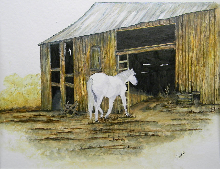 Horse Painting - Horse And Barn by Bertie Edwards