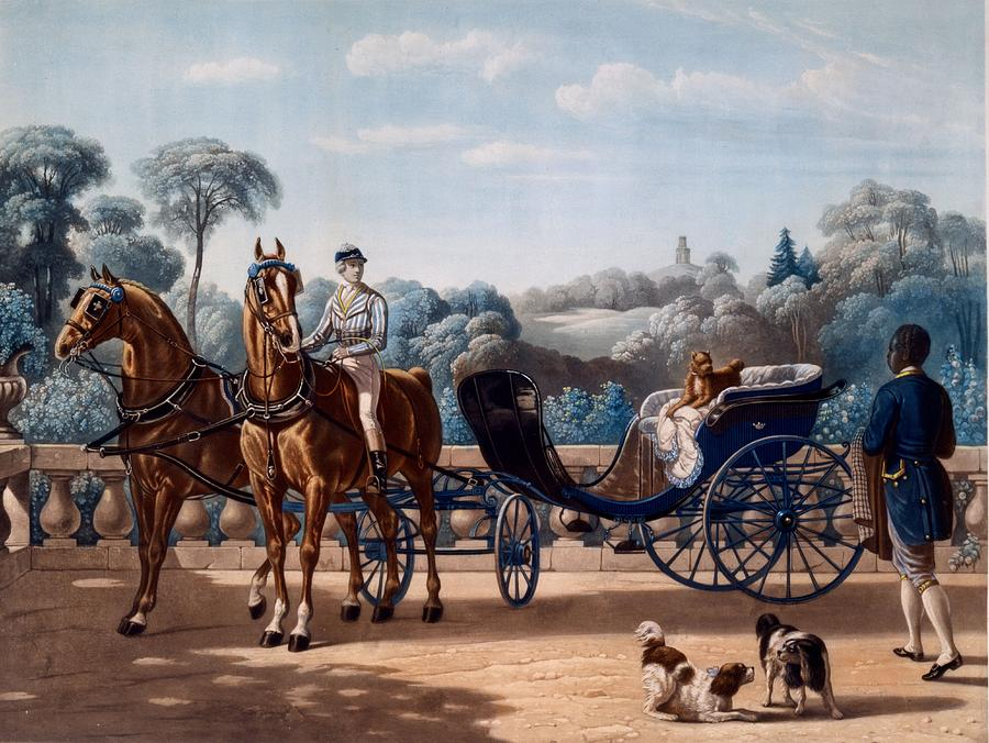 Transport Drawing - Horse And Carriage, First Half C19th by Henri dAinecy, Comte de Montpezat