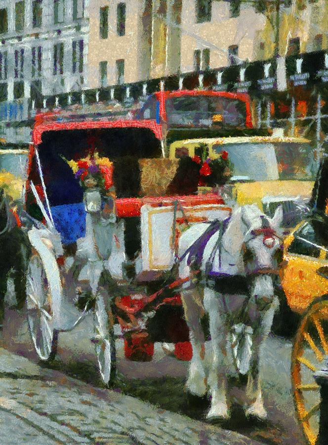 Horse And Carriage Painting - Horse And Carriage In New York City by Dan Sproul