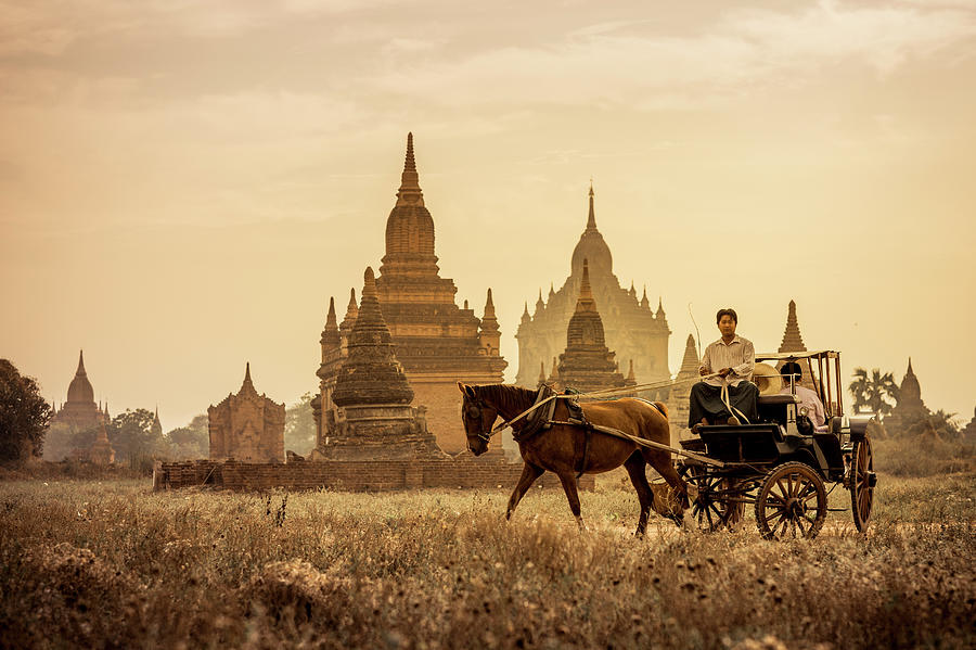 Horse And Carriage Turning By Temples Photograph by Merten Snijders