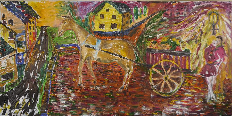 Horse Painting - Horse And Cart by Dozel Lake