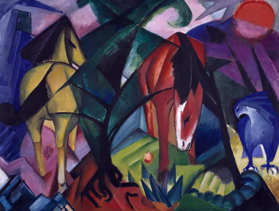 Horse And Eagle Painting by Franz Marc