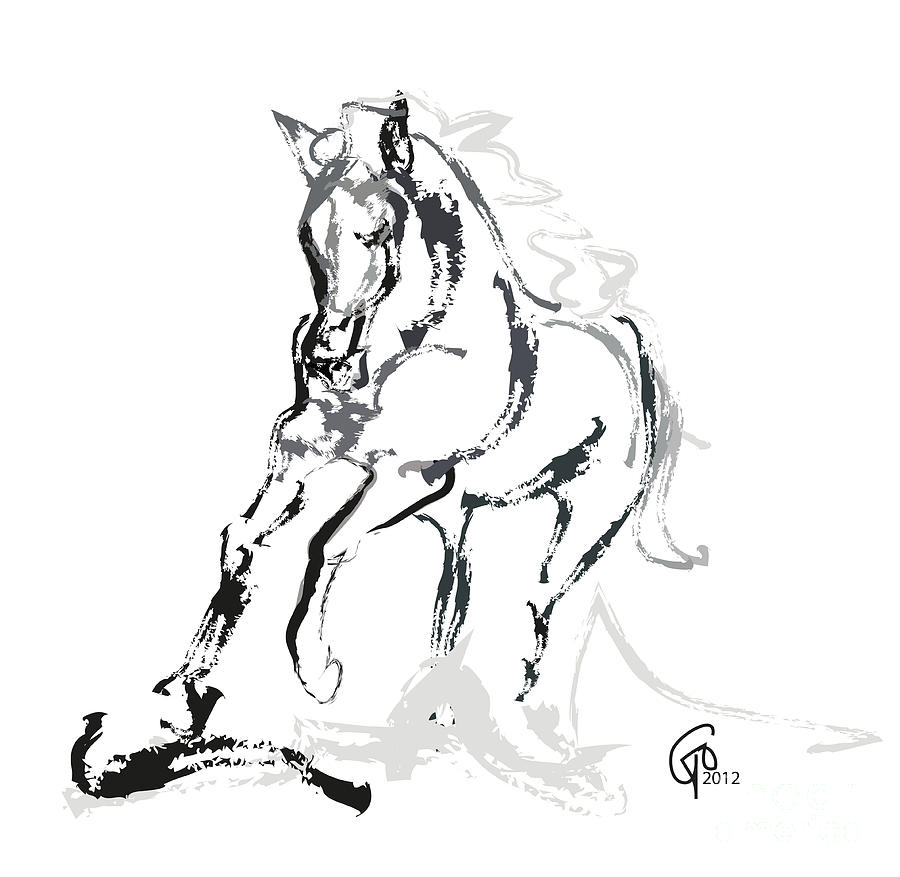 Running Horse Painting - Horse- Andalusian Angel by Go Van Kampen